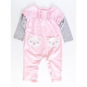 🌸4 for $20🌸 Baby Girls Pink & Gray Kitty Pajamas